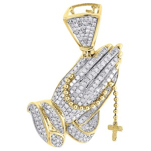 Jewelry For Less Diamond Praying Hands Rosary Pendant Mens 10K Yellow Gold Charm 1 ct.
