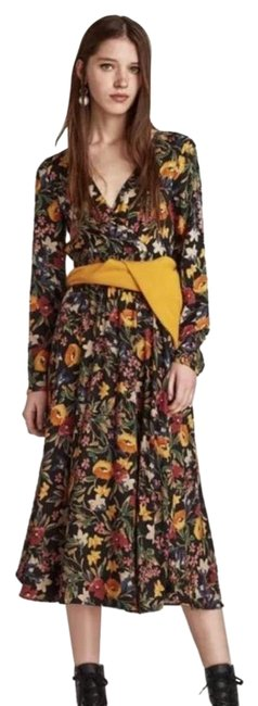 Item - Black Midi with Crossover V-neck Long Sleeves Mid-length Casual Maxi Dress Size 4 (S)