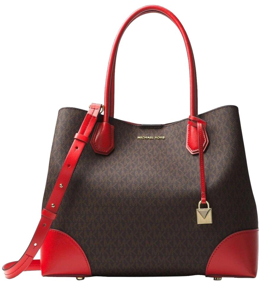 31e4ca0fa10791 Michael Kors Mercer Gallery Large Center Zip Tote Signature Brown/Bright Red  Leather Satchel