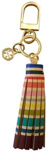 Tory Burch Multicolor New Leather Tassel Key Fob Chain Gold Bag Charm