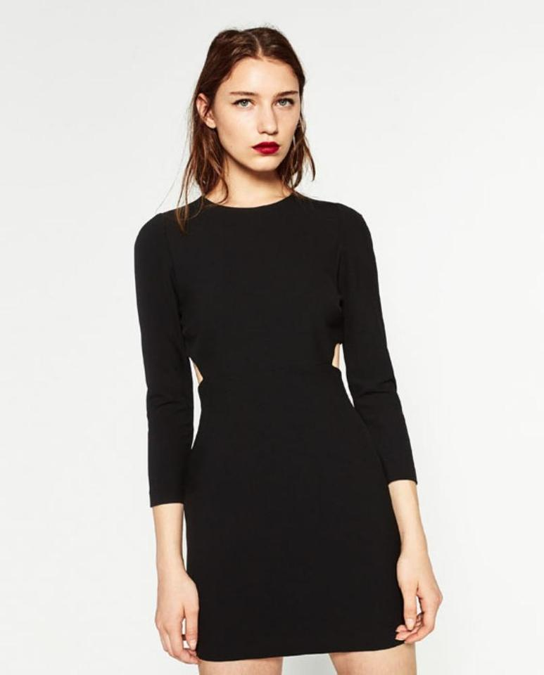 230bc64f Zara Black Cut-out Sides 3/4 Sleeves New Fitted Shift Short Casual Dress  Size 8 (M) 47% off retail