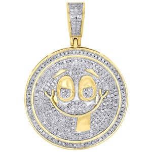 Jewelry For Less 10K Yellow Gold Diamond Smiley Face Tongue Out Pendant Charm 0.80 CT.