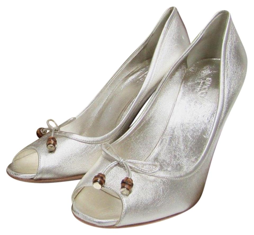 be890b1ac8c Gucci Silver Peep Toe Heel Leather Bow Bamboo Beads Pumps Size US ...