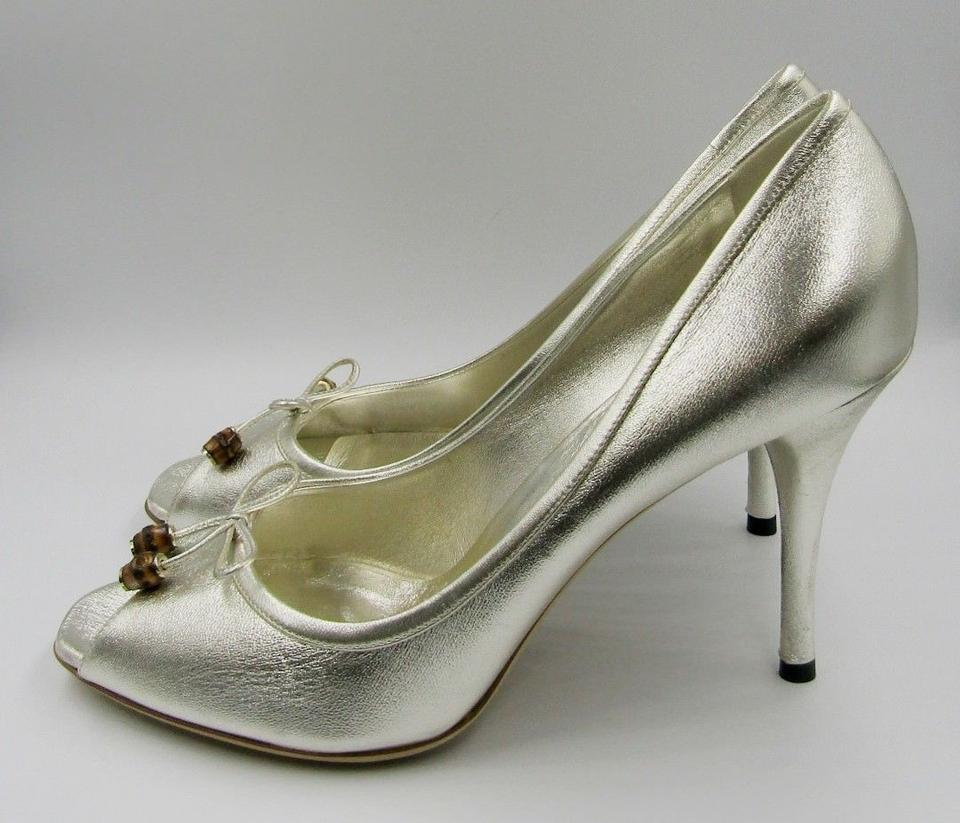 6622f0cc107 Gucci Silver Peep Toe Heel Leather Bow Bamboo Beads Pumps Size US 10.5  Regular (M