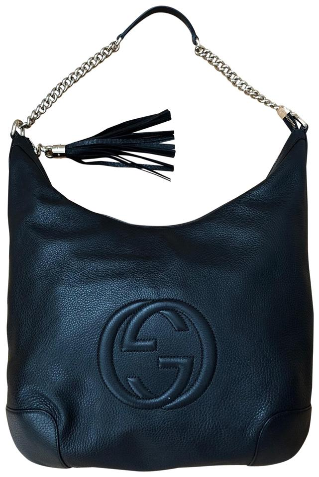 6c3fbee4c85ce Gucci Soho Chain Strap Medium Black Leather Hobo Bag - Tradesy
