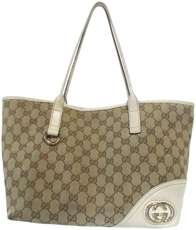 da307bd7cfd Gucci Signature Classic Large Leather Trim Tote in Beige and Brown GG Image  0 ...