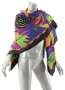 Louis Feraud LOUIS FÉRAUD 100% Silk Vibrant Abstract Geometric Knight Scarf Multi C