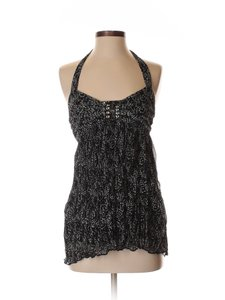 Hazel Chiffon Chrinkle Anthropologie Black/White Halter Top