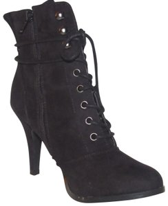 """Diba Dressy Or Casual Zip/Lace Front 3.5"""" Heel Ankle Ultra Suede 'tilda Welt' black lace up booties with side zip Boots"""