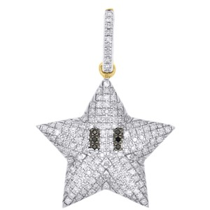Jewelry For Less 10K Yellow Gold Black Diamond Puff Dome Mini Star Pendant Charm 1/3 CT