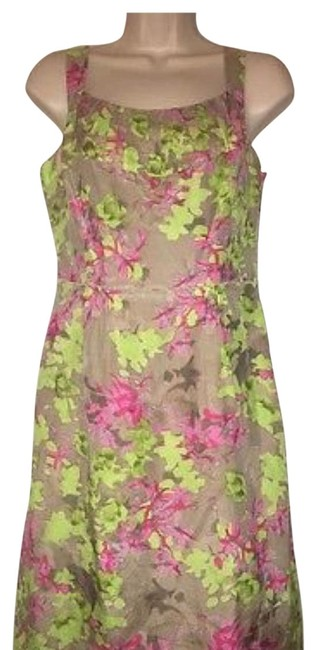 Item - Pink Green Summer Collection Mid-length Short Casual Dress Size 4 (S)