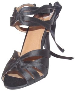 """Mix No. 6 Open Toe Style Chic Edgy 'meagan' Style Ribbon Size 9 W/ 4""""+ black strappy leather and satin heels with ankle ties Pumps"""