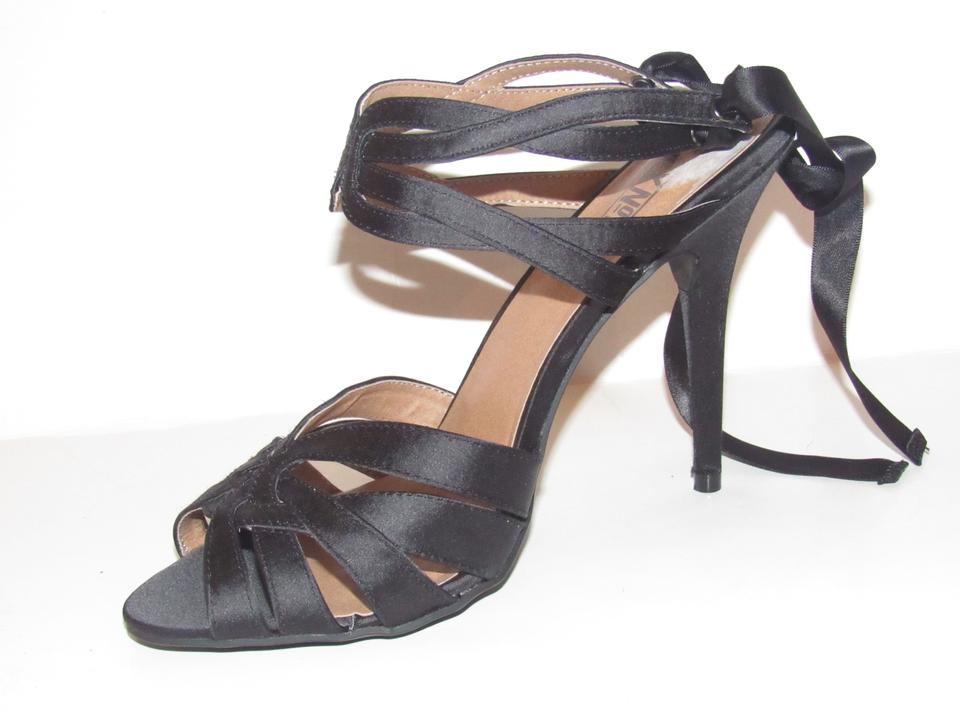 4382dd726159 Mix No. 6 Black Strappy Leather and Satin Heels with Ankle Ties ...