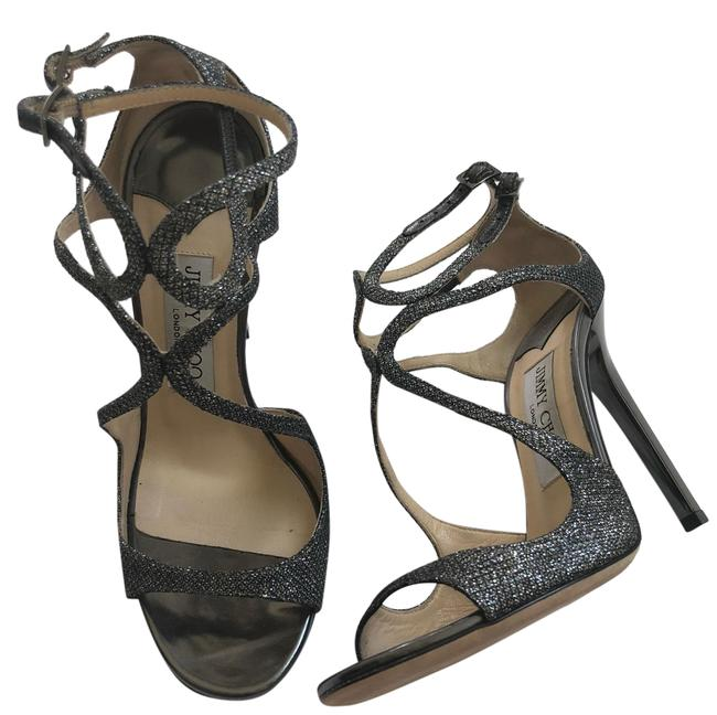 Item - Silver Metallic Grey Lang Glittered Strappy Sandals Formal Shoes Size EU 36.5 (Approx. US 6.5) Regular (M, B)