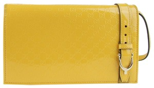Gucci Women's Yellow Patent Leather Guccissima Wallet w/strap 354086 7011