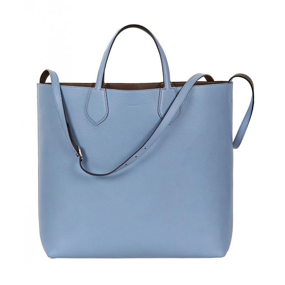 3ffcc361e92c Gucci Women's Blue/ Brown Reversible Ramble with Shoulder Strap 370823 Blue Leather  Tote