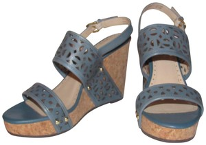 "Adrienne Vittadini High End Boho Look 'countiss' Style 4""+ Heel Cornflower Geometric Design blue leather cork wedge with cut-outs and ankle strap Sandals"