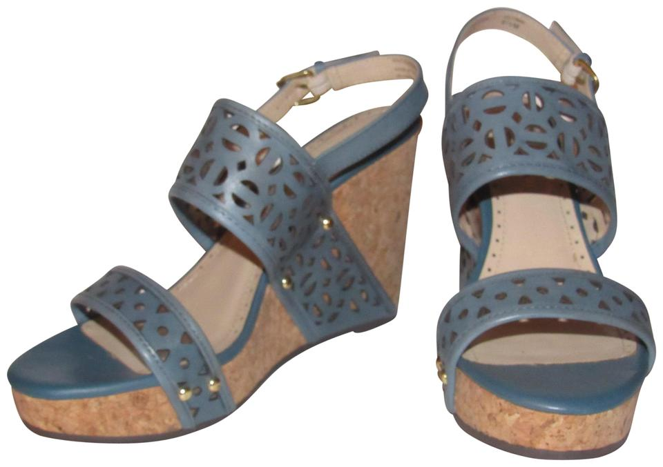 Adrienne Vittadini Blue Leather Cork Wedge Strap with Cut-outs and Ankle Strap Wedge Shoes/Nib Sandals 4955d0