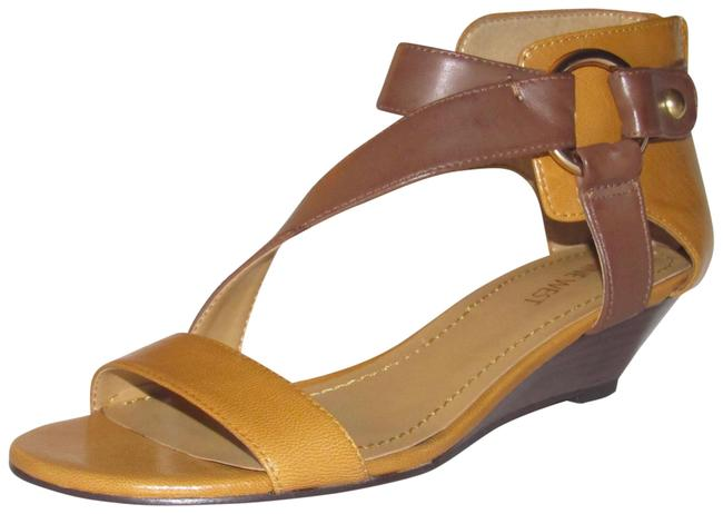 Item - Yellow and Brown Leather with Wrap Around Design Back Zipper and Ankle Strap Shoes/Nib Sandals Size US 6 Regular (M, B)