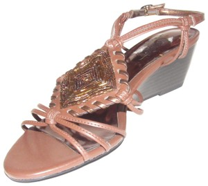 Carlos by Carlos Santana Dressy Or Casual High End Boho Look Slingback Open Toe Bronze Chic European Look brown strappy leather with beaded, whipstiched center accent and wood wedge heel Sandals