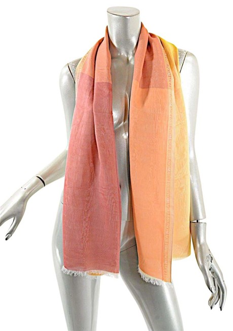Item - Red Orange Yellow Silk Chiffon Double Layer Scarf/Wrap