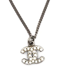 Chanel Timeless CC crystals silver chain necklace