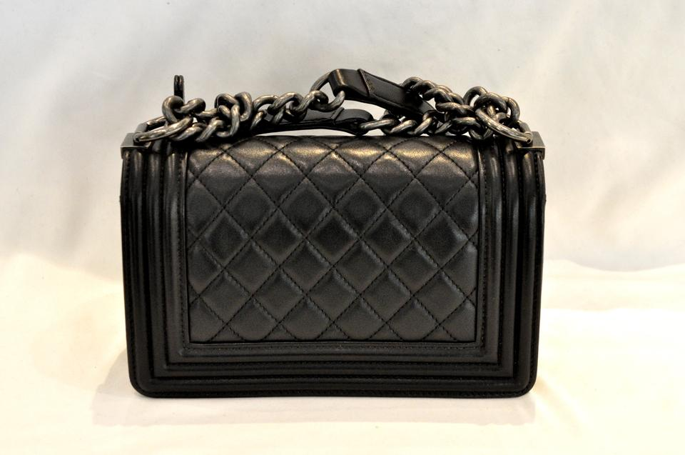 32b78df0d3c3 Chanel Boy Calfskin Quilted Small Flap Black Lambskin Leather ...