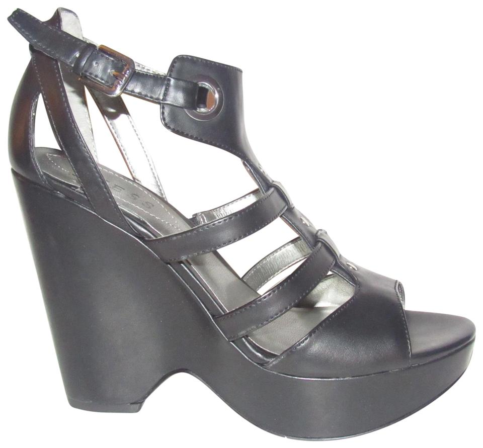 eaddf772899 Guess Black Strappy T-strap Platform Sandals with Chrome Buckles Shoes New  In Box Wedges