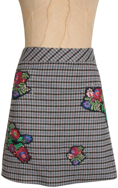 Item - Gray Multi Houndstooth Patchwork Skirt Size 8 (M, 29, 30)