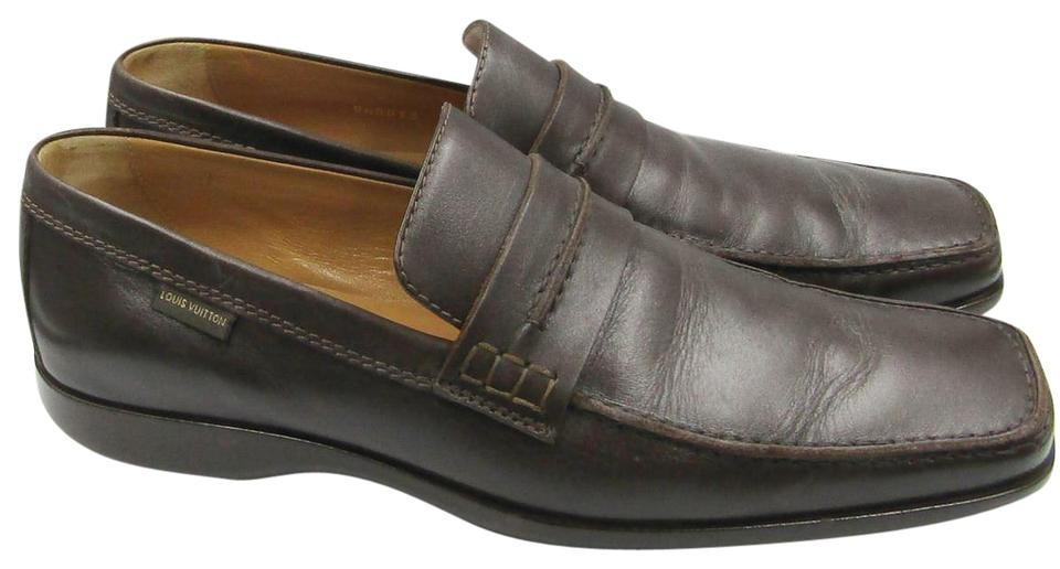 f879c0bfbf7 Louis Vuitton Brown Lv 7.5 Uk 8.5us Men s Leather Penny Loafers Flats