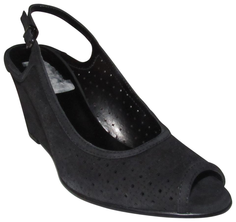 Vaneli Black Nubuck Leather with Wedge Sling Back Heels with Leather Perforated Design Shoes/Nib Sandals 95e9ca