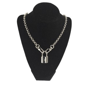 Louis Vuitton Authentic Silver Paladium Louis Vuitton Lock #307 Up-Cycled Necklace