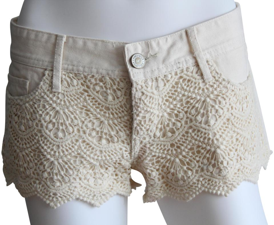 Hollister Ivory Crochet Lace Denim Waist 27 Shorts Size 4 S 27