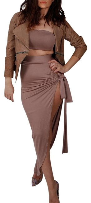 Item - Taupe Cotton Matching and Top Set Skirt Suit Size 8 (M)