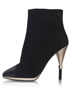 Chanel Suede Satin Cap Toe Ankle black Boots