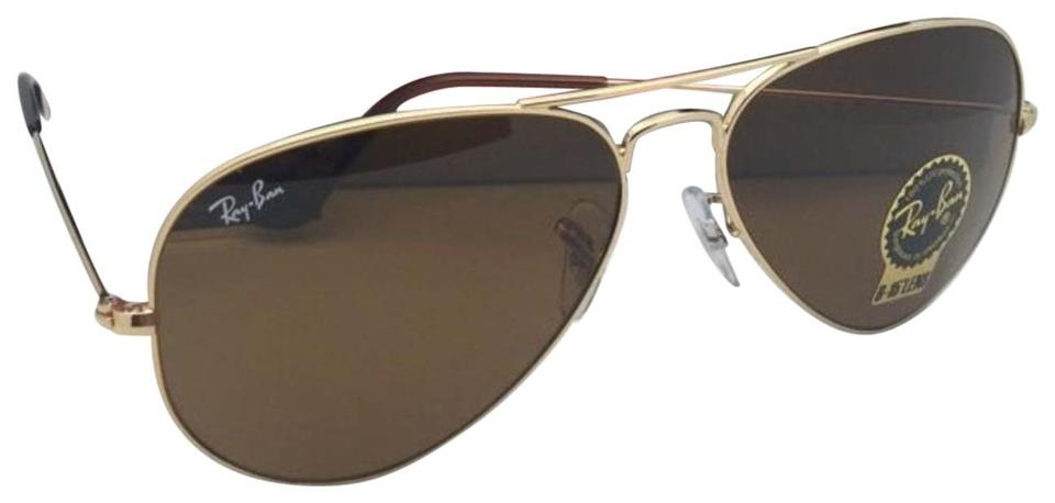 abd50ac733cd Ray-Ban New Rb 3025 001 33 58-14 Gold Aviator Frame B-15 Brown ...