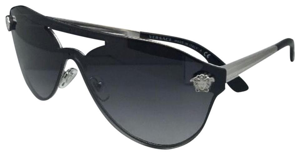 fa7ac79c2ac3 Versace New VERSACE Sunglasses VE 2161 1000/8G Silver & Black w/ Grey  Gradient ...