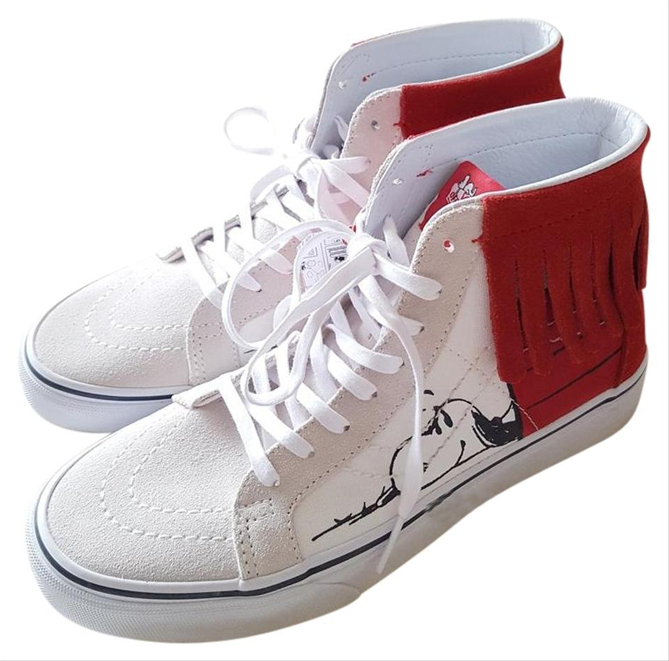 241e239208 Vans White Red Peanuts Sk8-hi Moc Dog House Bone Casual Sneakers ...