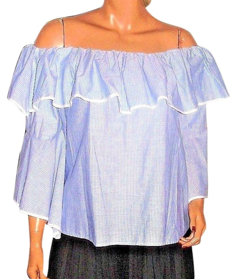 ac2420891fac59 Blue/White Striped Off Shoulder Ruffled Blouse Size 12 (L) - Tradesy