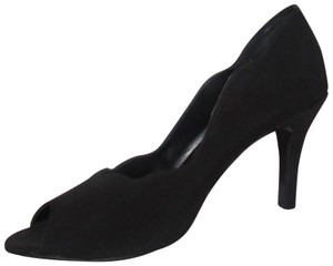 Vaneli Dressy Or Casual 'pesky' Scalloped Edges Classic Style black fabric over leather open toe stem heels Pumps