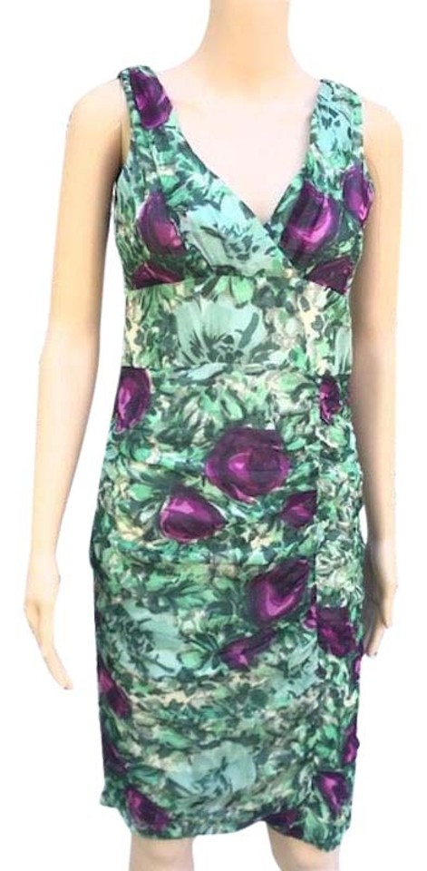 f01f714728 Nanette Lepore Green and Purple Floral Chiffon Mid-length Night Out ...
