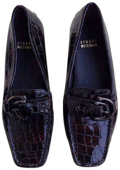 Item - Brown Embossed Crocodile Print Patent Leather Loafers Flats Size US 6 Regular (M, B)