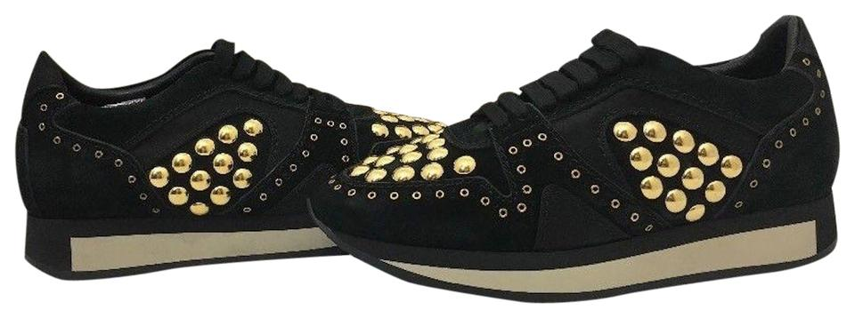 0ca2c63ea7a9f1 Burberry Black Suede - Leather   Gold Studs Field Sneaker Women s Platform Lace  Up Sneakers M Sneakers