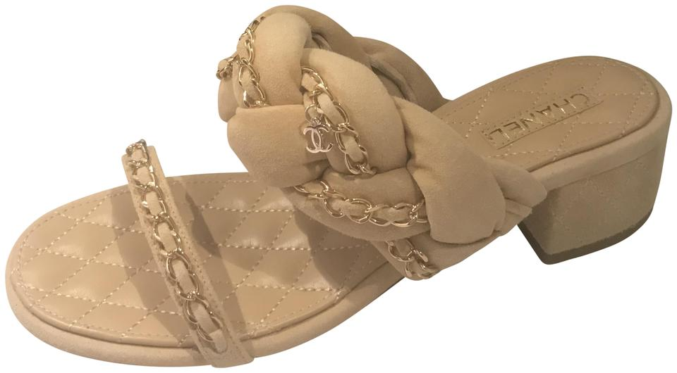 ea5fb5e222bb Chanel Beige 17p Braided Suede Chain Strap Quilted Mule Sandals. Size  EU 38  ...