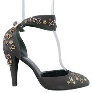 Chanel Grommet Embellished Ankle Strap Vintage Strappy Black Pumps