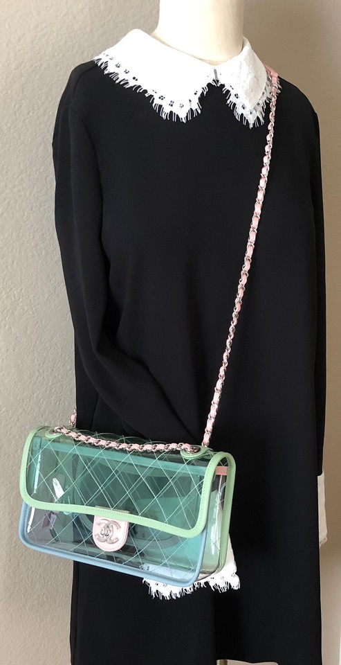 d61693ce772 Chanel Runway Quilted Flap Green/Blue/Pink with Silver Chain Green ...