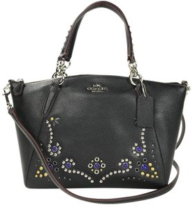 Coach Twisted Leather 37081 Studded Satchel in SILVER/CHALK