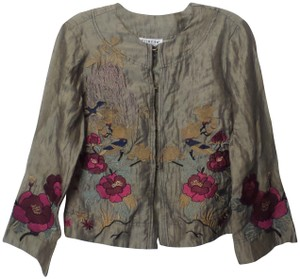 Citron Embroidered Linen Blazer Silky Tan, Deep Red, Sage, Rose Red Jacket