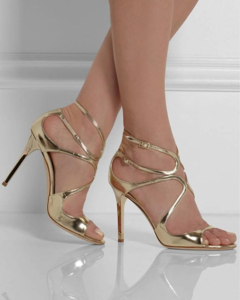 c2bca6255a6c Jimmy Choo Gold Lang Strappy Mirror Leather Sandals Formal Shoes ...