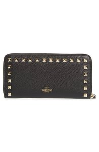 Valentino New Valentino Rockstud Zip Around Leather Continental Wallet